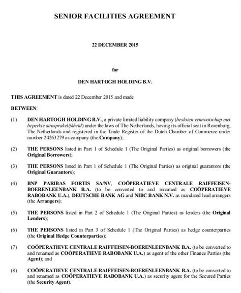 9+ Facility Agreement Templates - Free Sample, Example