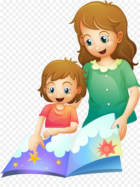 Bedtime story Clip art - Vector painted mother child png